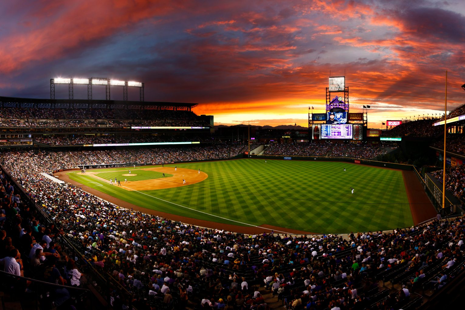 Colorado Rockies stadium at sunset